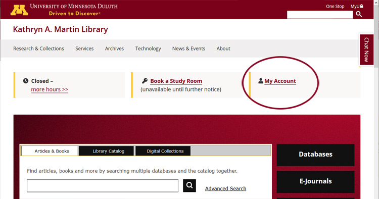 Screen shot of library home page showing button for MY ACCOUNT