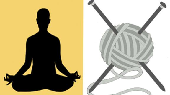 Split image with human silhouette in a lotus pose, and yarn with knitting needles