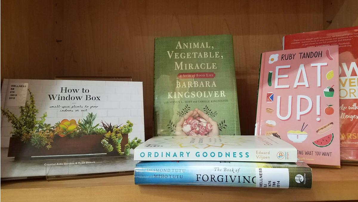 books on wellness, including titles on gardening, forgiveness and eating healthy