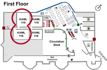 Small map showing computer labs on first floor of library